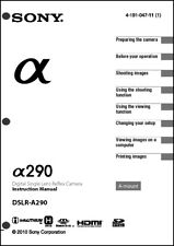 Sony DSLR Alpha A290 Digital Camera User Guide Instruction  Manual