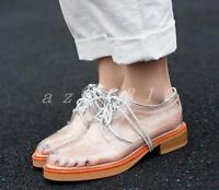 Hot Womens Fashion Transparent Clear Lace Up Wing Tip Brogue Flat Shoes Sneakers