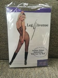 Seamless FISHNET BODYSTOCKING BLACK Lace Up Back Leg Avenue 1X-3X Plus Size New