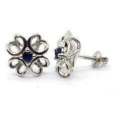 925 Sterling Silver Fine Earrings Stylish Stud Round Blue Zircon Earrings