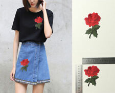 2X Embroidery Rose Flower Sew On Patch Badge Bag Hat Jeans Dress Applique Craft