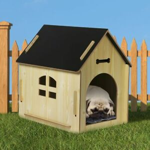 Wooden Dog House Pet Kennel Timber Indoor Cabin Extra Large Oak XL