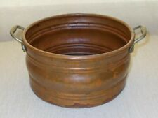 ANTIQUE HAND FORGED SOLID COPPER POT/TUB/PLANTER WITH BRASS HANDLES (B15)