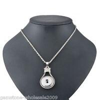 5PCs Retro Silver Tone Knot Rhombus Pendant Necklace Jewelry 3.8x3.4cm