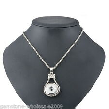 W09 Silver Plated Snap Button Pendant Necklace With White Shimmering 54.5cm