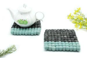 Set of 3 - 17 CM Felted Square Trivet - Handmade Ball Trivet - From Nepal