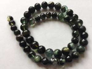 Stunning Gem Quality plain smooth Round Green Tourmaline Beads string T104