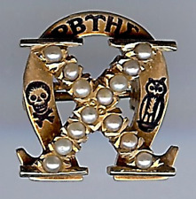 Omega Epsilon Alpha Sorority Pin Brooch Vintage 1920'S Gold & Pearl Engraved Chi