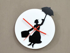 Mary Poppin - Black & White Silhouette - Wall Clock