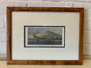 "Ant Handcolored Framed Island Voyage French Wood Engraving ""View of Maui"""