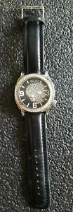"""Marc Ecko Skull Face E13524G1 Wristwatch No. 00-829-1972 9.5"""" Black Leather Band"""