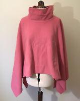 Klass Pink Wool Cashmere Swing Poncho Cape Jacket Funnel Neck Pockets One Size