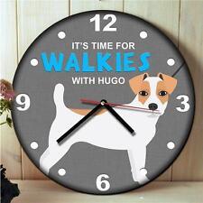 Personalised Jack Russell Dog Fun Kitchen Walkies Round Hanging Wall Clock Gift