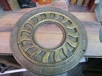 """ANTIQUE HEAT VENT round cast iron ornate ceiling grate register early 1900's 16"""""""