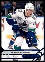 2020-21 Overtime Base Blue Foil #4 Tanner Pearson - Vancouver Canucks