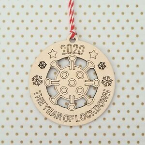 Lockdown 2020 Bauble ~ Christmas Tree Decoration ~ Wooden Gift ~ Germ