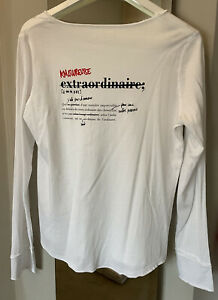 Zadig & Voltaire 'Tunisien' White Cotton Long Sleeved T-shirt. New! Size L.