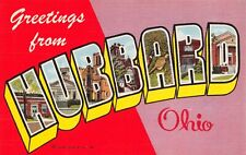 USA Linen 1953 Large Letter Postcard, Greetings from Hubbard Ohio CY0