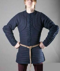 Thick blue color Gambeson  Padded full sleeves Armor reenactment HALLOWEEN