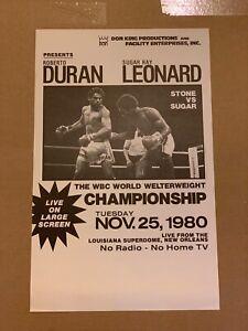 Rare 1980 Sugar Ray Leonard Vs Roberto Duran Original Boxing Poster No Mas Fight