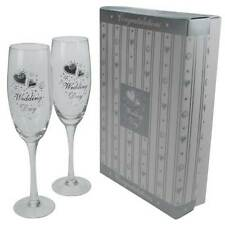 2 Wedding Day CHAMPAGNE FLUTES GOBLETS Toast Glasses Silver Hearts Boxed Glass