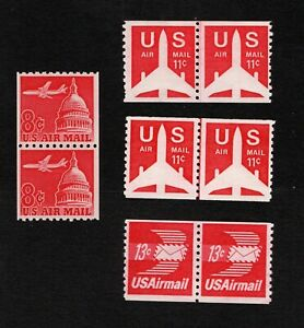 US Air Mail MNH Coil pairs and line pairs C65, C82 (2), C83