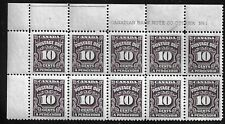 CANADA MNH POSTAGE DUE 1935-1965 PLATE BLOCK OF 10
