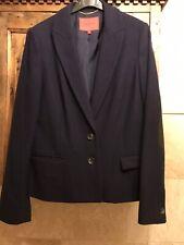 LK Bennett Navy Wool Mix Blazer Jacket size 12 Suede Elbow Patches Ladies