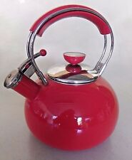 Copco Red Whistling Tea Kettle Enamel & Stainless Steel 2.5 Qt.