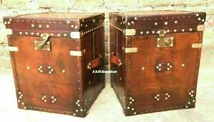 Pair Of Finest English Leather Antique Inspired Side Table Trunks Halloween Gift