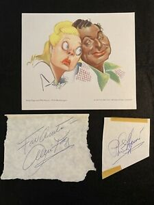 ALICE FAYE & PHIL HARRIS Signed Autographs + 1947 NBC Sam Berman caricature