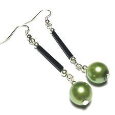 Long Green Pearl Earrings Hooks, NON PIERCED, Ear Clips, STUD or 925 Silver UK