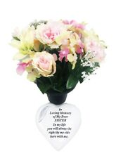 Grave Ornaments Sister Flowers Pot Loving Memory Stone Graveside Memorial Plaque