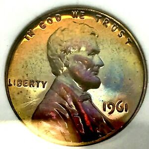 1961 Lincoln Cent NGC PF65 BN Neon Purple Green Gold Toning -Rare !