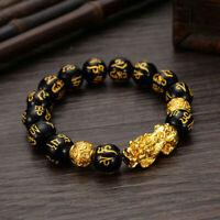Punk Black Obsidian Alloy Wealth Bracelet Golden Pixiu Wirstband Mantra Jewelry