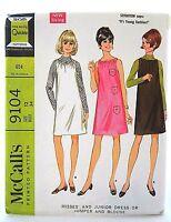 Vintage 60s Mod Retro Shift Dress Sewing Pattern McCalls 9104 Size 12