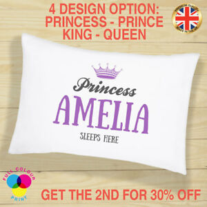 Personalised Pillow Case Princess Party Birthday Gift Girls & Boys Mr and Mrs