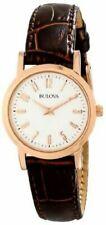Bulova Womens 97L121 Brown Leather Strap Gold Watch