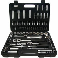 "Socket Set 94 Pieces 1/2"" & 1/4"" Drive Ratchet Handles Garage Tool"