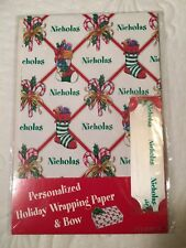 """Personalized Christmas Holiday Wrapping Paper and Bow """"Nicholas�"""