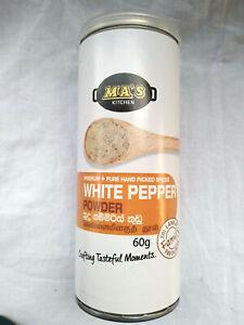 ORGANIC PURE HAND PICKED CEYLON WHITE PEPPER POWDER 60G MA'S KITCHEN BRAND