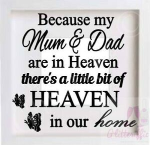 MUM & DAD IN HEAVEN IN OUR HOME VINYL DECAL STICKER FOR IKEA HOVSTA BOXFRAME DIY