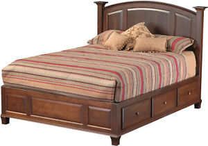 Amish Traditional Platform Storage Panel Bed With Drawers Solid Wood Willow