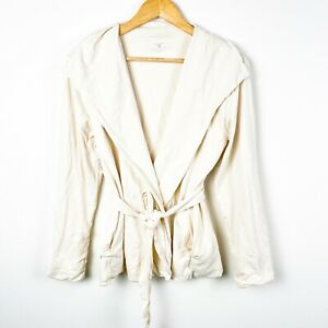 Patagonia beige wrap cardigan tie belt shawl collar pockets size large