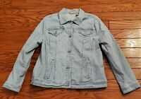 Rare Chico's Women's Jean Blue White Striped Denim Jacket Size 2 61-9