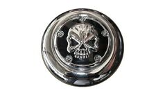Chrome Skull Horn Cover for Harley Motorcycles with Cowbell style horns