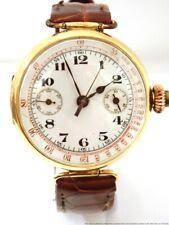 Large 18K Gold Genuine Enamel Dial 1 Button Chronograph Mens Wrist Watch