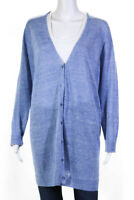Eileen Fisher Womens Linen Blend Cardigan Blue Size Extra Large