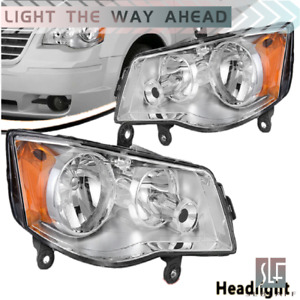 Headlights Pair For 2011-2019 Dodge Grand Caravan 08-16 Chrysler Town & Country