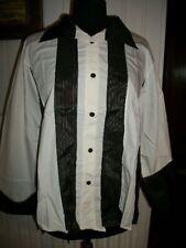 Chemisier tunique blouse coton blanc empiecement noir  LAUREN VIDAL XXXL 44 46